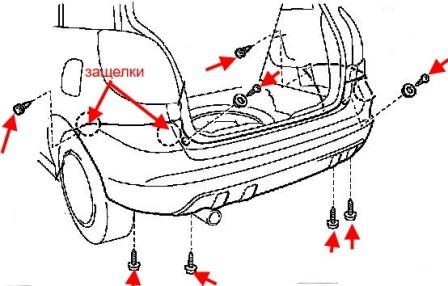 diagram of rear bumper Toyota Matrix (2003-2008)