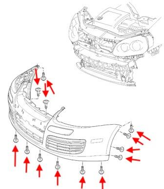 the scheme of fastening of the front bumper of the VW JETTA 5