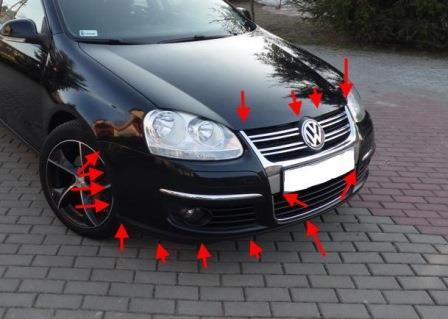 the attachment of the front bumper of the VW JETTA 5